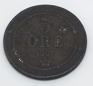 1907-SWEDEN-5-ORE-BRONZE-COIN