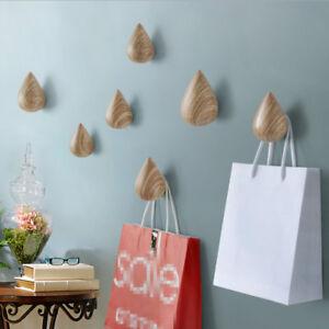 Home Storage 1Pcs Water Drop Shape Wood Wall Hanger Door Coat Hat Bathroom Single Hook Holder