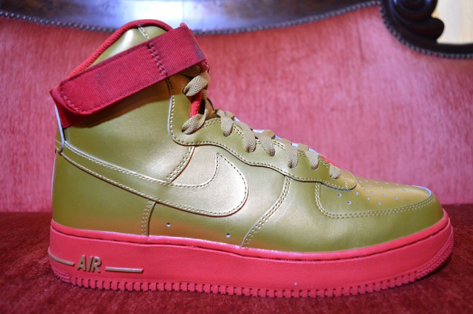 Nike Air Force 1 High iD Metallic gold Red Blood AF1 Premium Size 10