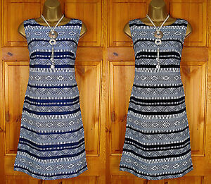 NEW-MONSOON-BLUE-BLACK-IVORY-WHITE-TRIBAL-SUMMER-TUNIC-SHIFT-DRESS-UK-SIZE-8-12