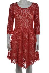 Free People Womens Dress Size 8 Ivory Red Lace Sheath Knee Length 3/4 Sleeve