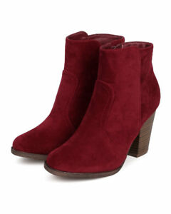 85c67a1299ff7 Image is loading Breckelles-HEATHER-34-Wine-Burgundy-Suede-Stacked-Chunky-