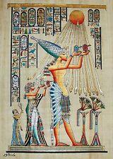 Egyptian Hand-Painted Papyrus Signed Artwork: Akhenaton & Nefertiti Offering