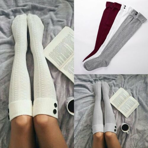 Women Girls Cable Knit Extra Long Boot Socks Over Knee Thigh High Warm Stocking