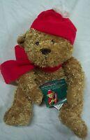 American Greetings Puppet Card Holder Teddy Bear W/ Hat & Scarf 8 Plush Toy