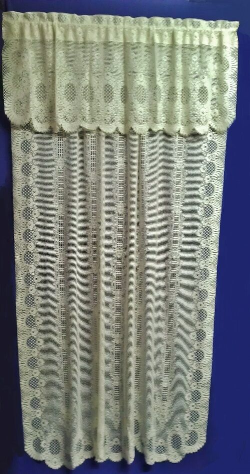 Lace Valance and 60 x 96 Panels Ivory Cotton Blend Valencia Livingroom Bedroom