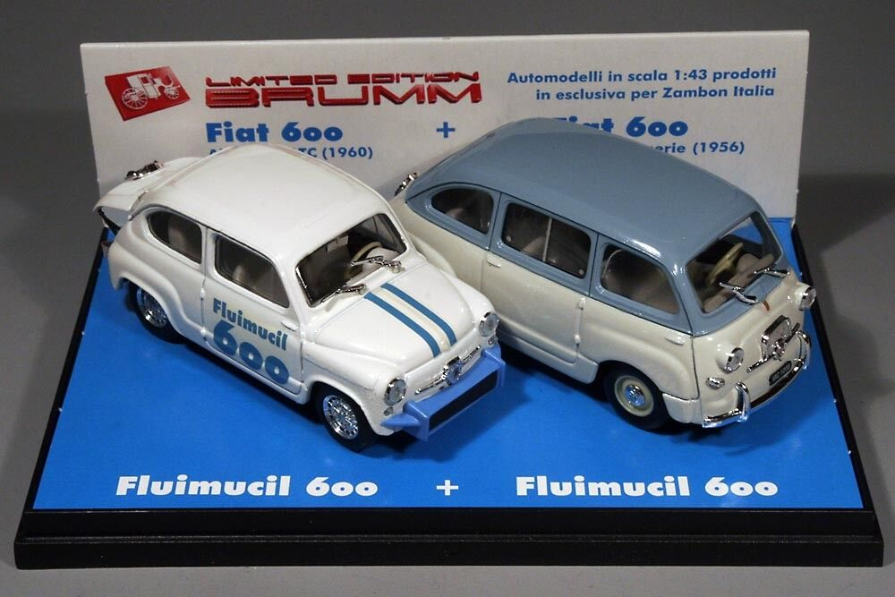Brumm S01 03 Abarth 850 TC + Fiat 600 Multipla Fluimucil promotional limited