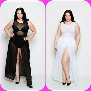Plus Size Sheer Sleeveless Bodysuit Chiffon Front Slit Skirt Maxi ...