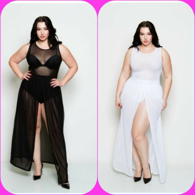 Plus Size Sheer Sleeveless Bodysuit Chiffon Front Slit Skirt Maxi Dress 1X  2X 3X
