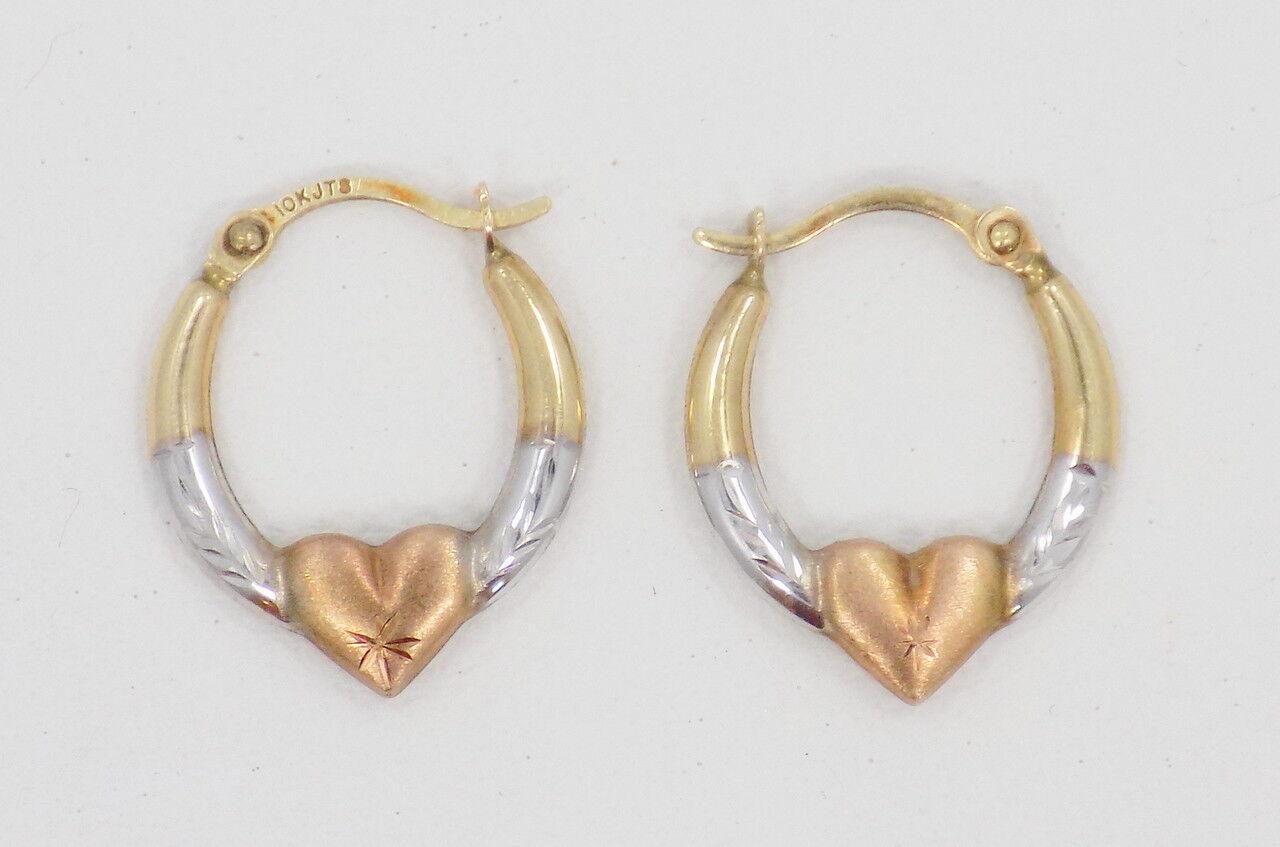 10k Solid Tri-color gold Petite Heart Hoop Earrings