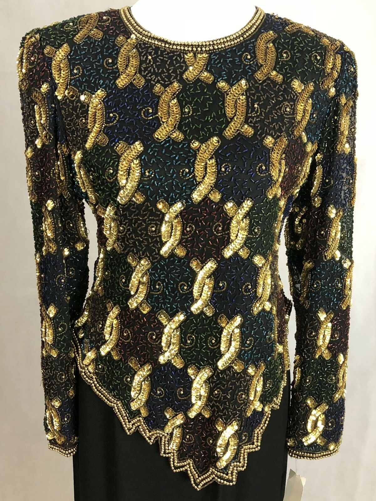 Lawrence Kazar Medium 100% Silk Gold schwarz Beaded Evening Top & Med schwarz Skirt