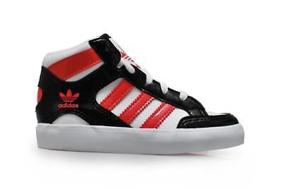 Los niños Adidas Hard Court Hi I-M21486-Blanco Negro Rosa Zapatillas