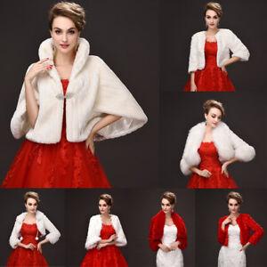 White-Ivory-Faux-Fur-Bridal-Bolero-Shawl-Coat-Jacket-Cape-Shrug-Wrap-For-Wedding