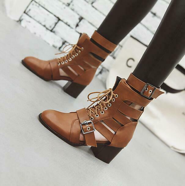 Hot Women Fashion Cutout Lace Up Buckle Straps Block Heel Ankle Boots shoes new