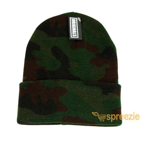 Camouflage Beanie Plain Knit Ski Hat Skull Cap Cuff Warm Winter Blank Camo New