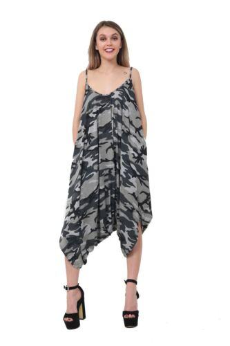 Ladies Lagenlook Print Baggy Loose Harem Jumpsuit Women Playsuit Strappy Romper