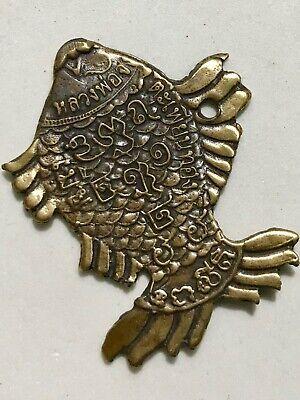 FISH PHRA LP TIM RARE OLD THAI BUDDHA AMULET PENDANT MAGIC ANCIENT IDOL#3