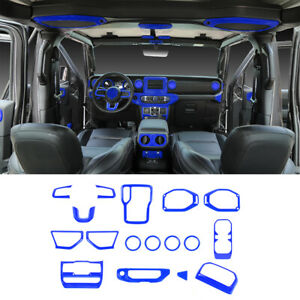 17pcs Interior Decoration Cover Trim Accessories For Jeep Wrangler JL 2018+ Blue