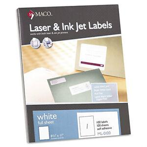 Maco-ML-0100-Full-Sheet-Shipping-Label-1000-Sheets