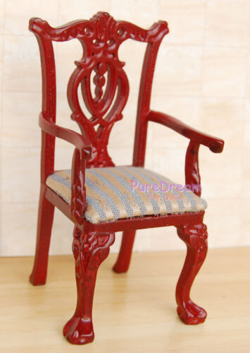 1:12 Dollhouse Miniature Dining Room Upholstered Wooden Chair Armchai #JK1501