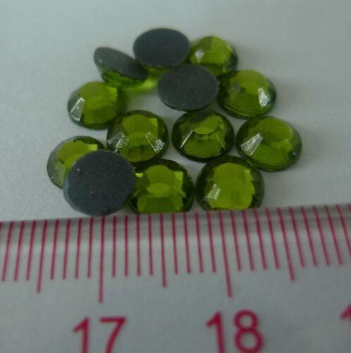 Glass Material Rhinestone Olive 1gr//144pcs 6mm Rhinestone Hot Fix Iron on SS30