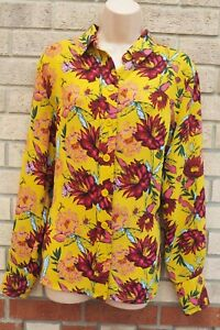 NEXT-YELLOW-BURGUNDY-FLORAL-BUTTONED-LONG-SLEEVE-BAGGY-T-SHIRT-BLOUSE-TOP-14-L