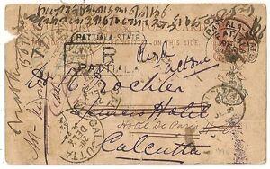 RARE-PATIALA-STATE-INDIA-1892-POST-CARD-TO-CALCUTTA-INDE-L-990