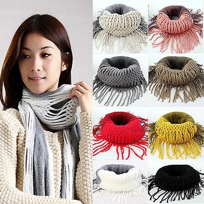 Elegant Women Winter Soft Warm Knitting Infinity Tassels Scarf Wraps Gift Hot!