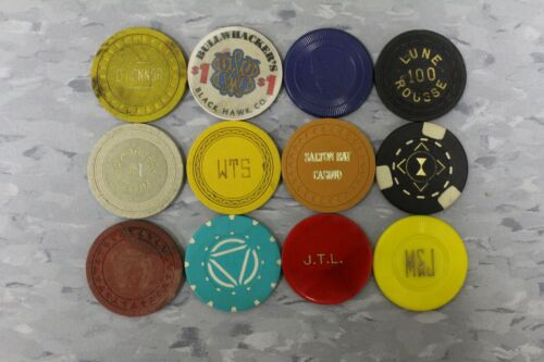 ASSORTED POKER CHIPS 12 PCS