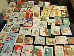 Used-Christmas-Greeting-Cards-LOT-1930-039-s-to-1960-039-s-Great-Variety-55pc-D8e