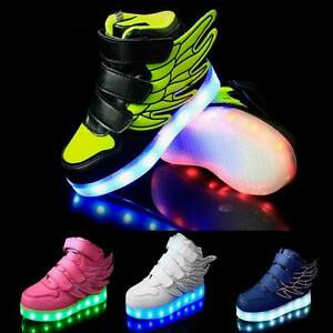Details About Boys Girls Led Light Up Lace Up Luminous Sneakers Children Kids Casual Shoes