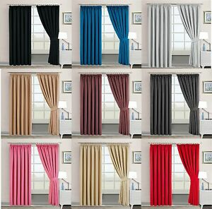 Image Is Loading BLACKOUT PENCIL PLEAT PAIR CURTAINS BEDROOM LIVING ROOM