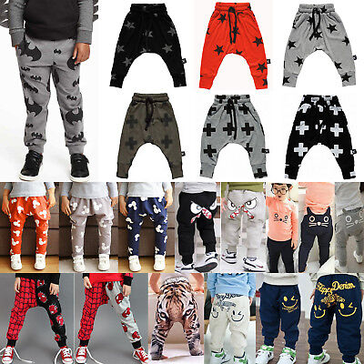 Baby Harem Long Pants Hiphop Toddler Sport Jogger Trousers Cotton Leggings 12-18 Months