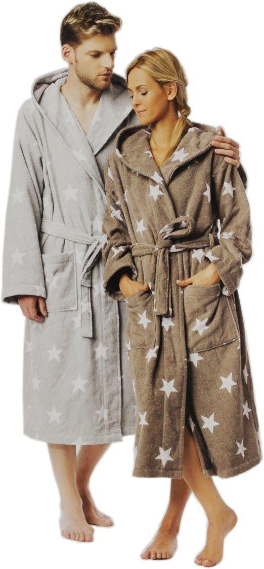 Bademantel mit Sternen, Kapuze Sauna in taupe oder grey Sterne Größe S M L XL