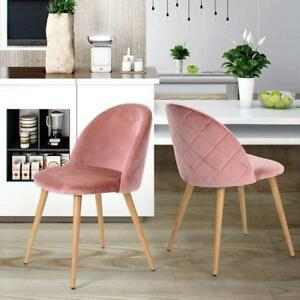 Details About Pair Of Blush Rose Pink Dining 2 Chairs Pack Set Soft Velvet Chair Living Room