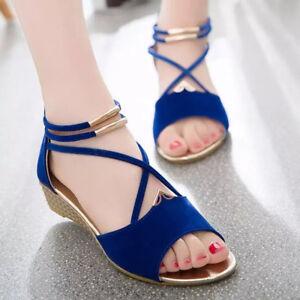Fashion-Rome-Summer-Women-Beach-Shoes-Wedge-Open-Toe-Flat-Sandals