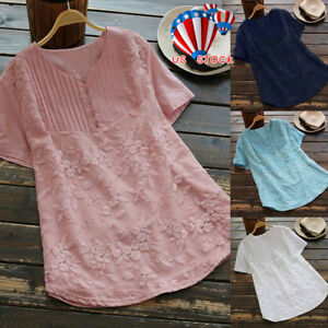 Womens-Short-Sleeve-Floral-T-Shirts-Blouse-Ladies-Tunic-Loose-Tops-Plus-Size-US