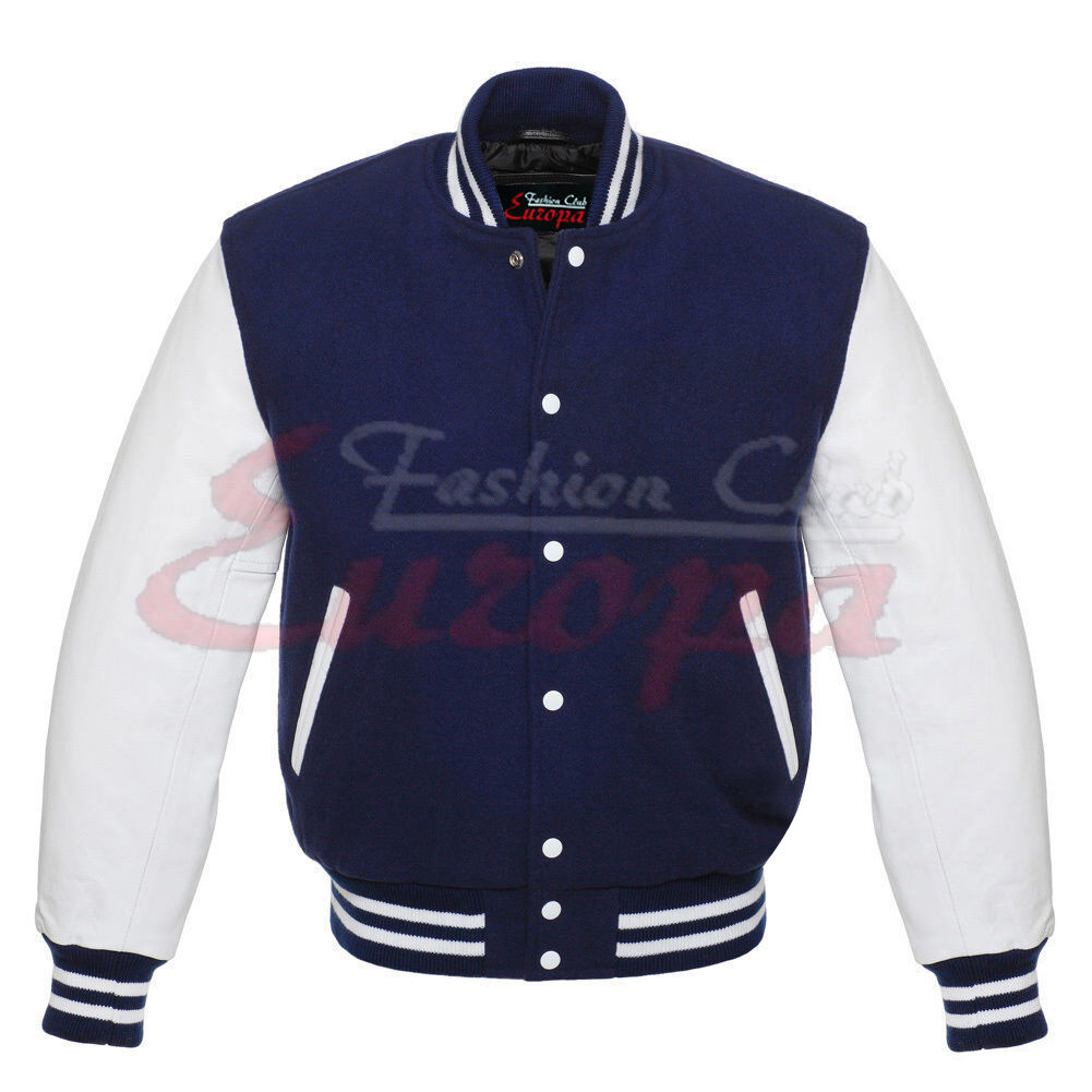 Varsity Top quality Letterman Wool Jacket with Real Leather Sleeves XS-4XL