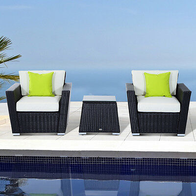 3pc Rattan Sofa Set Garden Furniture Weave Wicker Conservatory Seater Aluminium
