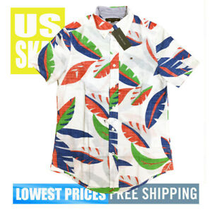 Tommy-Hilfiger-Men-039-s-NWT-Color-Leaves-on-White-Button-D-Short-Sleeve-Shirt-large