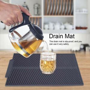 Silicone-Dish-Drying-Mat-Pot-Soft-Holder-Pad-Kitchen-Draining-Pad-Tool-UK
