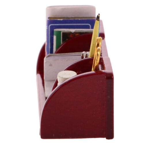 Mini Wooden Desk Stationery Set for 1:12 Dollhouse Miniature Accessories Red