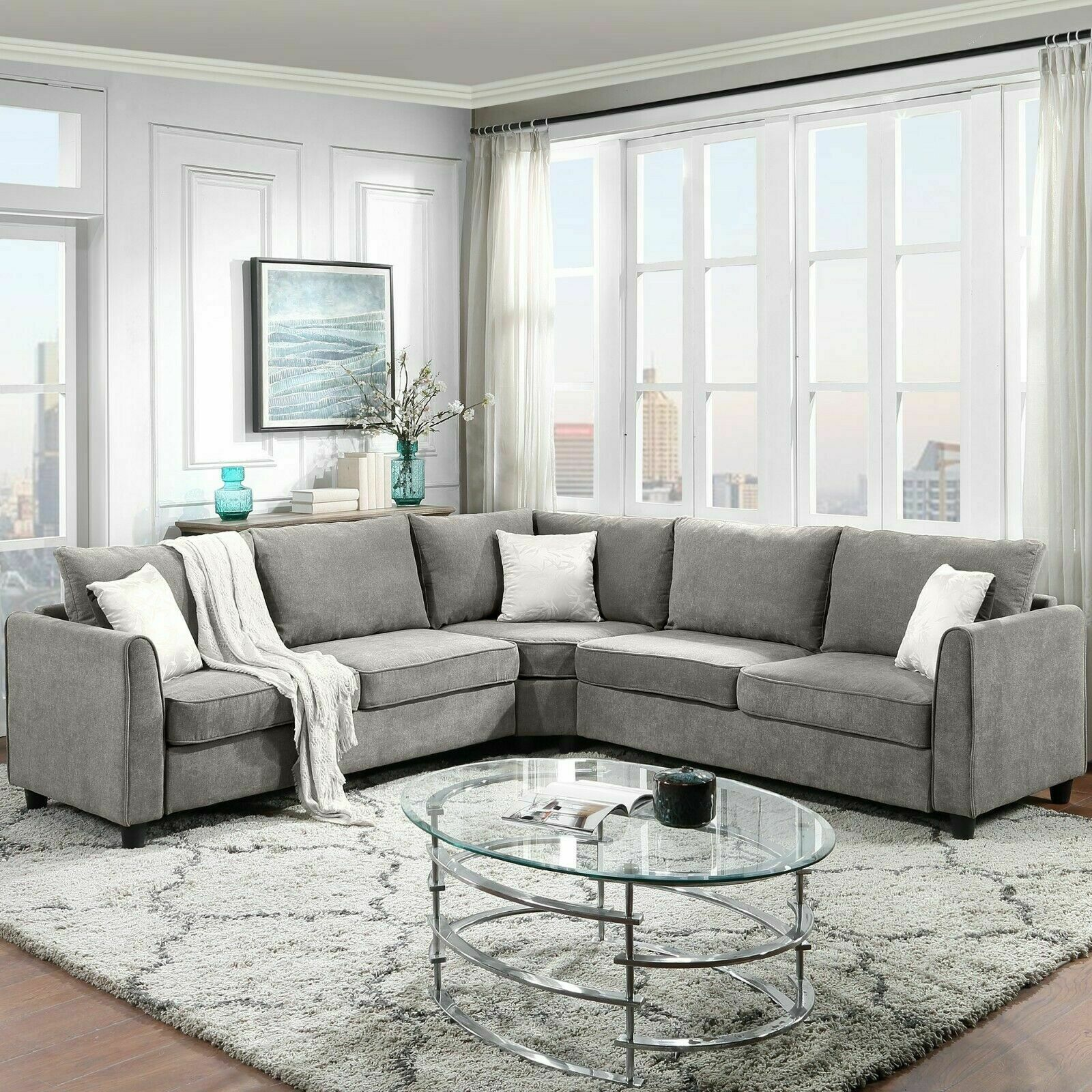 """100*100""""L Shape Big Sectional Sofa Couch Couch Fabric Grey 3 Pillows Included"""