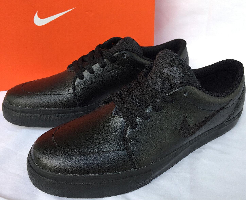 Nike SB Satire Satire Satire 654431-002 Black Leather Skate Board Shoes Men's 8 Murdered new 982866