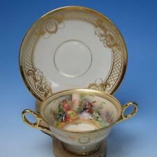 Dresden Lamm Raised Gold Hand Painted Courting Scene Cream Soup Bowl w/Liner #5