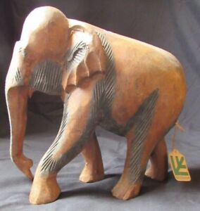 Details About Handcarved Wooden Elephant Statue India Large Wood Hand Carved Figurine Nwt