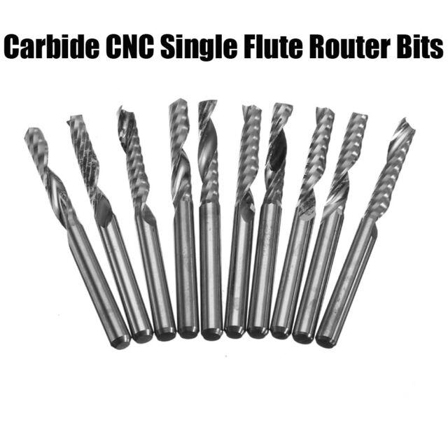 10pcs 3mm Carbide Flat Nose End Mill Cutter Set Single Flute Router Bits CNC