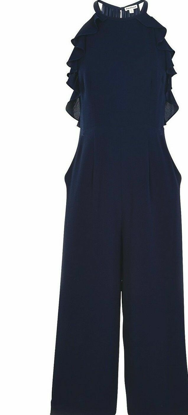 New Whistles Sonia Frill Navy bluee Jumpsuit Sz rrp