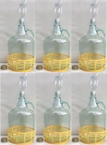 6 xSET 5L Flasche Gärröhrchen+Korb Weinballon Gärballon Gärbehälter Stopfen