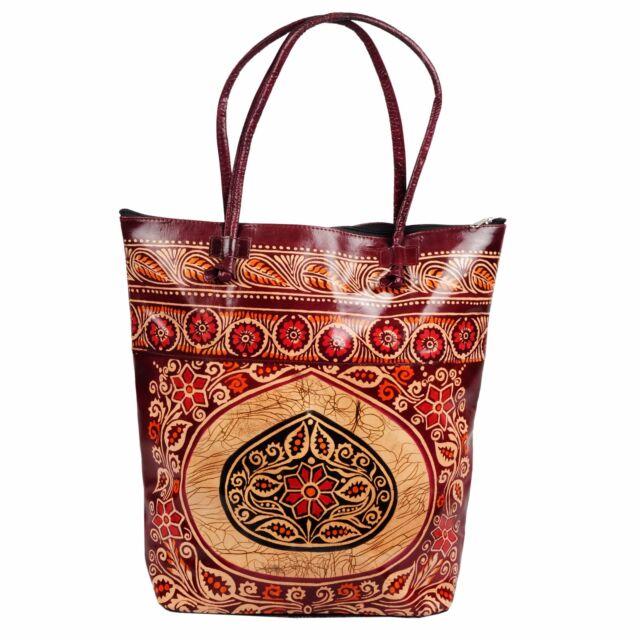 c0acabf740 Real Leather Large Tote Batik Indian SHANTINIKETAN Ethnic Shopping Bag  Handmade